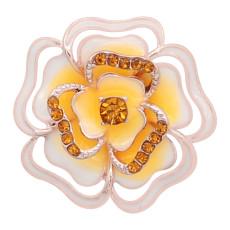 Цветы 20MM с покрытием из розового золота с оранжевыми стразами и эмалью KC8158 ювелирные украшения