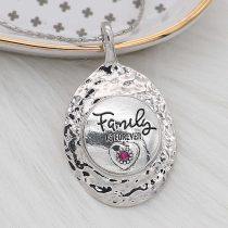 20MM Family snap Silver Plated With rose-red strass charms KC8171 snaps jewerly