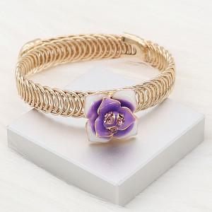 12MM Snap vergoldete Blumen mit lila Strass Emaille KS7154-S Snaps Schmuck