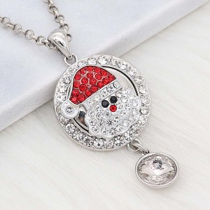 Christmas 20MM Santa Claus snap Silver Plated With Rhinestone  charms KC8175 snaps jewer