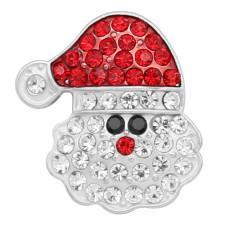 Navidad 20MM Broche de Papá Noel plateado con encantos de diamantes de imitación KC8175 broche de presión