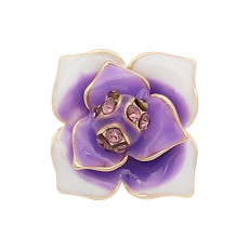 12MM snap gold Plated  Flowers with purple rhinestones enamel KS7154-S snaps jewerly