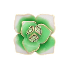 12MM snap gold Plated  Flowers with Green rhinestones enamel KS7153-S snaps jewerly