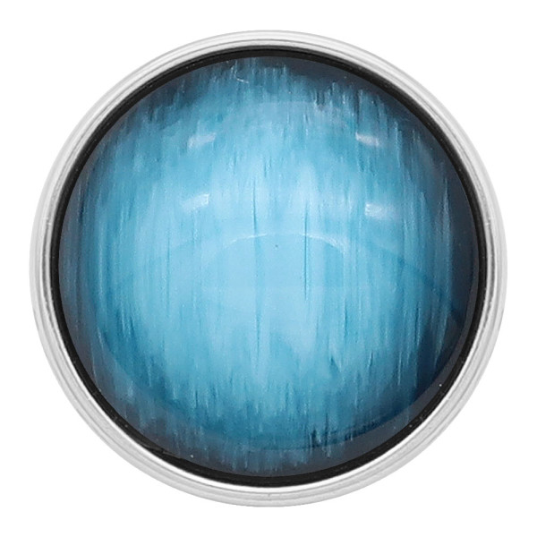 20MM snap plaqué argent avec des yeux de chat bleu clair KC2187 s'enclenche
