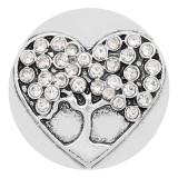 20MM Love snap plaqué argent avec strass blanc charme KC8174 s'enclenche joaillier