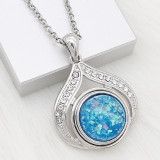 20MM snap Silver Plated With Opal Blue Shell charms KC2177 snaps jewerly