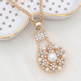 snap Fashion gold Necklace with pendant With white rhinestones fit 20MM snaps style jewelry KC1320