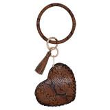 Кожаный брелок для ключей Браслет с кожаной монеткой Брелок браслет с кисточкой темно-коричневый