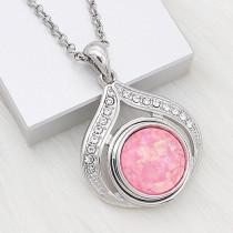 Broche 20MM plateado con dijes de concha rosa KC2182 encaja joyería Opal