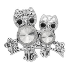 20MM Owl snap Silver Plated With White rhinestones charms KC9339 snaps jewerly