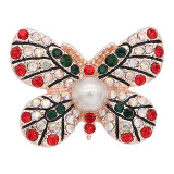 20MM  Butterfly rose-gold plated with red rhinestone Pearl   KC8055 snaps jewelry