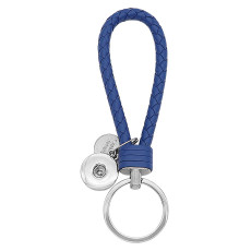 PU Blue leather Key chain button fit snaps chunks KC1227 Snaps Jewelry