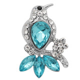 20MM Bird snap Silver Plated With blue rhinestones charms KC9344 snaps jewerly
