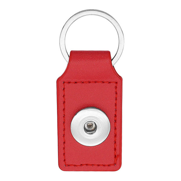 PU Red leather Key chain button fit snaps chunks KC1225 Snaps Jewelry
