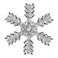 20MM Broche de copo de nieve de Navidad Plateado con encantos de pedrería blanca KC9341 se ajusta a la joyería