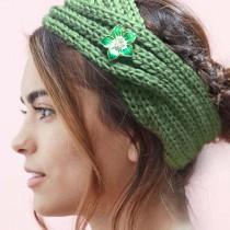 Winter Knit Headband fit 18mm snap button beige
