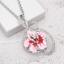 20MM snap Silver Plated  Flowers with rhinestones and Pink enamel KC9346 snaps jewerly