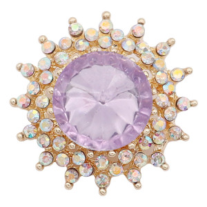 20MM snap gold Plated With purple rhinestones charms KC9333 snaps jewerly
