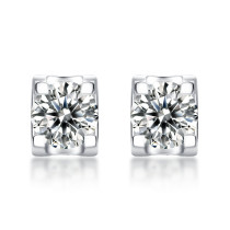 0.5CT and1CT DEF VVS Moissanite Bull head studs earrings  Diamond Sterling Silver Classic Stud Earring Platinum plating 2pcs/pair