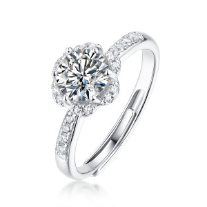 0.5 - 3CT DEF VVS  Moissanite burst with joy Diamond Sterling Silver Heart flowers wedding Rings Platinum plating adjustable size