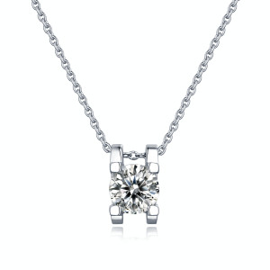 1 CT D 6.5mm Classic bull head clavicle chain Moissanite Sterling Silver Pendant Necklace Platinum plating 45CM chain