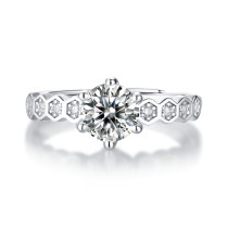 0.5 - 3 CT DEF Moissanite Nine Stars Ring Sterling Silver nine star wedding Rings Platinum plating adjustable size