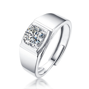 1 - 5 CT DEF Moissanite Classic male ring Sterling Silver Man Classic wedding Rings Platinum plating adjustable size