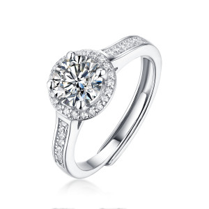 1 CT D 6.5mm Deluxe round style Moissanite Diamond Sterling Silver Classic Engagement Rings Platinum plating adjustable size