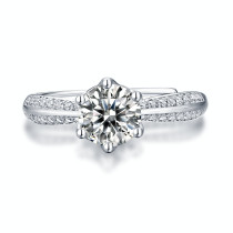 0.5-3 CT DEF VVS 6.5mm Moissanite Diamond Half of the world  Sterling Silver Classic Engagement Rings Platinum plating adjustable size