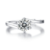 0.5-3 CT DEF VVS 6.5mm  Moissanite Diamond Cherish ring Sterling Silver Flying Star Ring Platinum plating adjustable size