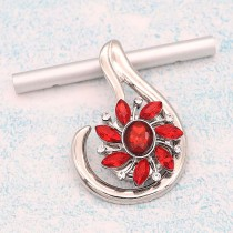 20MM  design snap Silver Plated With red rhinestones charms KC9330 snaps jewerly