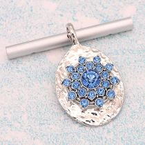 20MM design snap Silver Plated With Light Blue rhinestones charms KC8181 snaps jewerly