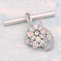 20MM design snap Silver Plated With  White rhinestones charms KC9335 snaps jewerly