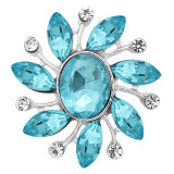 20MM design snap Silver Plated With blue rhinestones charms KC9329 snaps jewerly