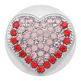 20MM Pince à coeur Plaqué Argent Avec strass roses KC8179 s'enclenche de manière joaillière
