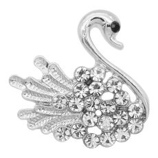 20MM Swan snap silver Plated With white rhinestones charms KC9343 snaps jewerly