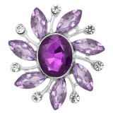 20MM  design snap Silver Plated With purple rhinestones charms KC9328 snaps jewerly