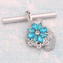 20MM design  snap Silver Plated With Light blue rhinestones charms KC9337 snaps jewerly