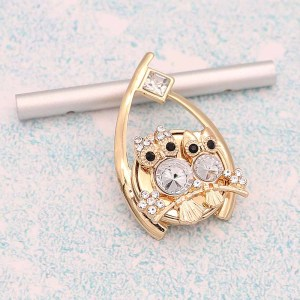 20MM Owl snap gold Plated With White rhinestones charms KC9338 snaps jewerly