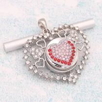 20MM Heart snap Plateado con diamantes de imitación rosados KC8179 se ajusta a presión