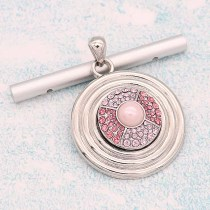 20MM design snap Silver Plated With pink rhinestones And pearl  KC8186 snaps jewerly