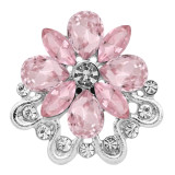 20MM design snap Silver Plated With Pink rhinestones charms KC9336 snaps jewerly
