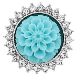 20MM Flowers snap silver Plated resin Cyan KC9236 encantos encajes joyería
