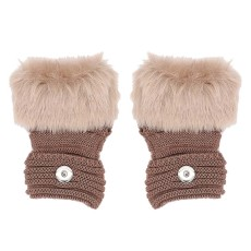 Winter Fingerless brown Gloves 20mm Snap Button Fashion Accessories Charms Jewelry For Women Teenagers Girl Christmas Gift