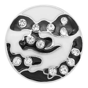 20MM chapado en plata con diamantes de imitación blancos y esmalte negro KC8192 se ajusta a presión