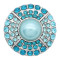 20MM design snap Silver Plated With blue rhinestones And  pearl KC8189 snaps jewerly