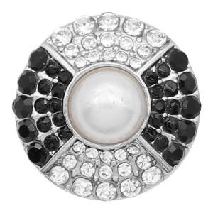 Diseño 20MM chapado en plata con diamantes de imitación negros y perlas KC8188 se ajusta a presión