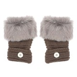 Winter Fingerless gray Gloves 20mm Snap Button Fashion Accessories Charms Jewelry For Women Teenagers Girl Christmas Gift