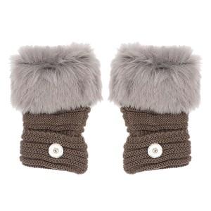 冬の指なしグレーグローブ20mmスナップボタンファッションアクセサリーチャームジュエリー用女性ティーンエイジャーガールクリスマスギフト