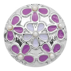 20MM Flower snap Silver Plated With Purple enamel And  pearl KC8190 snaps jewerly